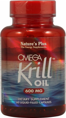 Nature's Plus Omega Krill Oil Liquid Capsules 600 mg Perspective: front