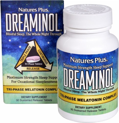 Nature's Plus Dreaminol Melatonin Tablets Perspective: front