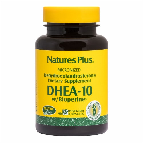Nature's Plus DHEA-10 with Bioperine Capsules 10mg Perspective: front