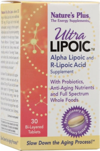Nature's Plus  Ultra Lipoic™ Alpha Lipoic and R-Lipoic Acid Perspective: front
