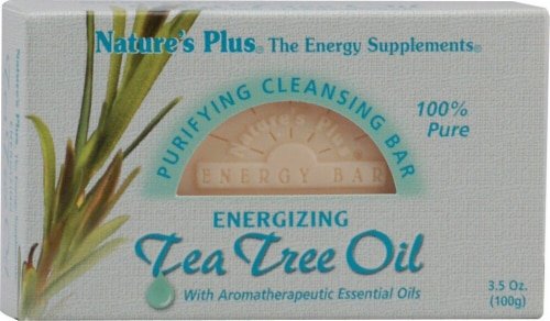 Nature's Plus  Purifying Cleansing Bar Energizing Tea Tree Oil Perspective: front