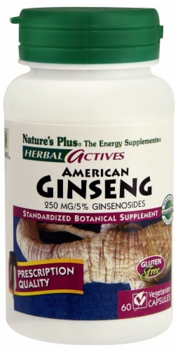Nature's Plus Herbal Actives American Ginseng Capsules 250 mg Perspective: front