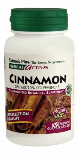 Nature's Plus Herbal Actives Cinnamon Capsules 350 mg Perspective: front