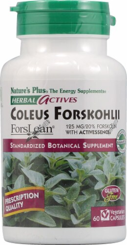 Nature's Plus Herbal Actives Coleus Forskohlii Capsules 125 mg Perspective: front