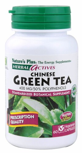 Nature's Plus Herbal Actives Chinese Green Tea Capsules 400 mg Perspective: front
