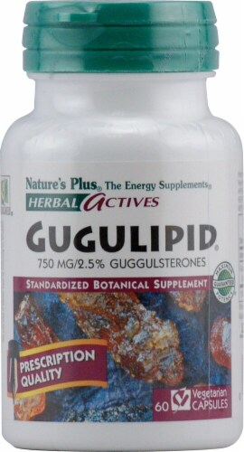 Nature's Plus Herbal Actives Gugulipid Capsules 750mg 60 Count Perspective: front