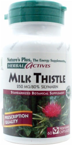 Nature's Plus Herbal Actives Milk Thistle Capsules 250 mg Perspective: front