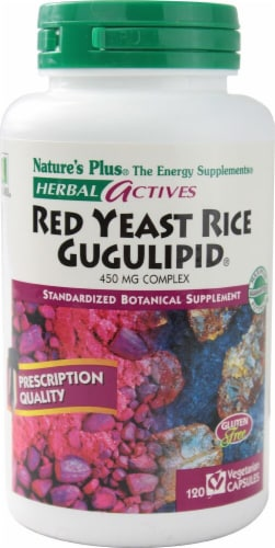 Nature's Plus Herbal Actives Red Yeast Rice Gugulipid Capsules 450mg 60 Count Perspective: front