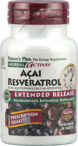 Nature's Plus Herbal Actives Acai Reseratol Extended Release Tablets Perspective: front