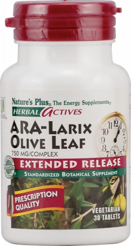 Nature's Plus Herbal Actives ARA Larix Olive Leaf Tablets 750 mg Perspective: front