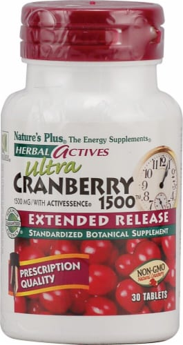 Nature's Plus Herbal Actives Ultra Cranberry 1500 Tablets Perspective: front