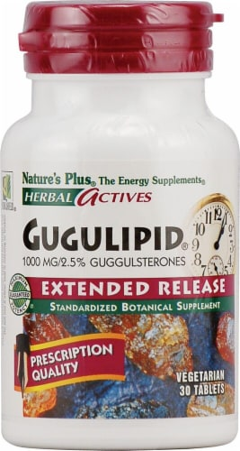 Nature's Plus Herbal Actives Gugulipid Vegetarian Tablets 1000mg 30 Count Perspective: front