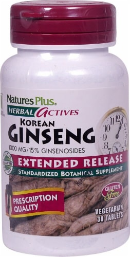 Nature's Plus Herbal Actives Korean Ginseng Tablets 1000 mg Perspective: front