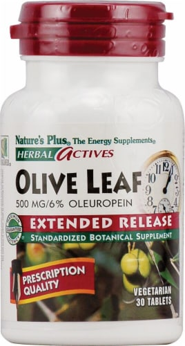 Nature's Plus Herbal Actives Olive Leaf Tablets 500 mg Perspective: front