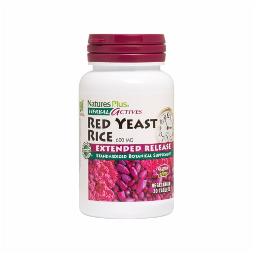 Nature's Plus Herbal Actives Red Yeast Rice Tablets 600mg Perspective: front