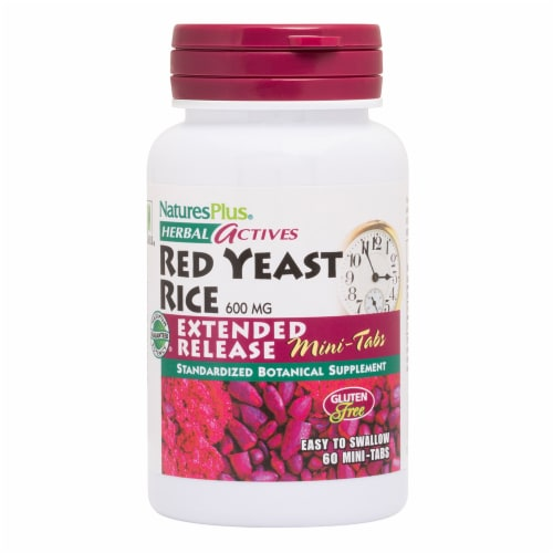 Nature's Plus Herbal Actives Red Yeast Rice Mini-Tablets 600mg Perspective: front