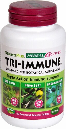 Nature's Plus Herbal Actives Tri Immune Tablets 900mg 60 Count Perspective: front