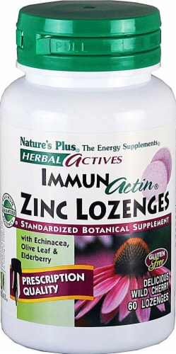 Nature's Plus Herbal Actives ImmunActin Wild Cherry Zinc Lozenges Perspective: front