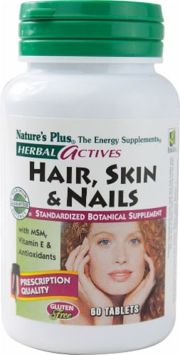 Nature's Plus Herbal Actives Hair Skin & Nails Tablets Perspective: front