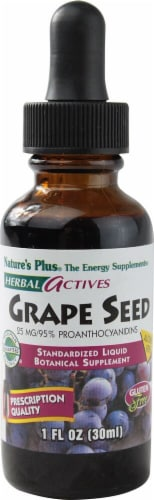 Nature's Plus Herbal Actives Grape Seed Liquid Energy Supplement 25 mg Perspective: front