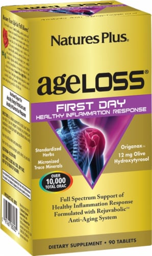 Nature's Plus Age-Loss First Day Healthy Inflammation Response Tablets Perspective: front