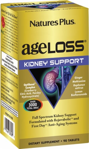 Natures Plus AgeLoss Kidney Support Tablets Perspective: front