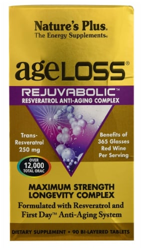 Nature's Plus AgeLoss® Rejuvabolic™ Resveratrol Anti-Aging Complex Perspective: front