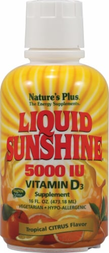 Nature's Plus  Liquid Sunshine® Vitamin D3 Tropical Citrus Supplement Perspective: front