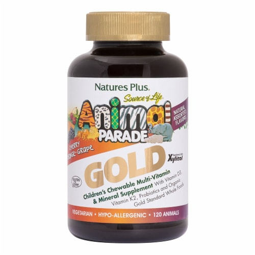 Nature's Plus Assorted Flavors Animal Parade Gold Chewable Children's Multivitamin Perspective: front