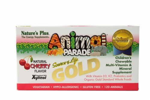 Nature's Plus  Animal Parade® Gold Children's Chewable Multi-Vitamin and Mineral   Cherry Perspective: front