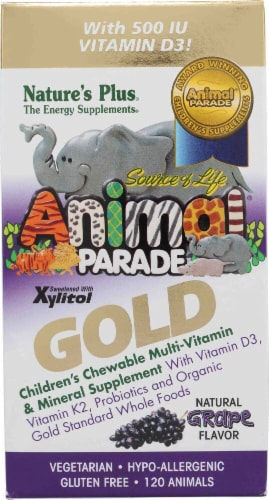 Nature's Plus  Animal Parade® Gold Children's Chewable Multi-Vitamin and Mineral   Grape Perspective: front