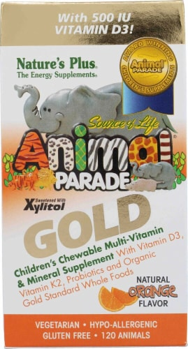 Nature's Plus  Animal Parade® Gold Children's Chewable Multi-Vitamin and Mineral   Orange Perspective: front