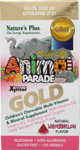 Nature's Plus  Animal Parade® Gold Children's Chewable Multi-Vitamin and Mineral   Watermelon Perspective: front