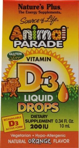 Nature's Plus Animal Parade Orange Vitamin D3 Liquid Drops 2500 IU Perspective: front