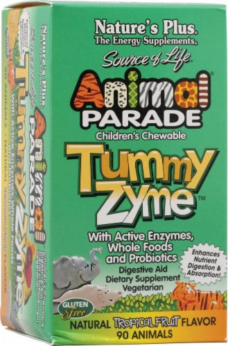 Nature's Plus Animal Parade Tummy Zyme Tropical Fruit Children's Digestive Aid Chewable Tablets Perspective: front