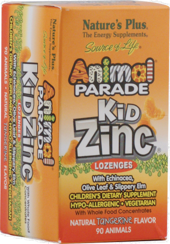 Nature's Plus Animal Parade Tangerine Kid Zinc Lozenges Perspective: front