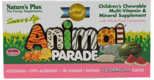 Nature's Plus  Animal Parade® Children's Chewable Multi-Vitamin and Mineral   Watermelon Perspective: front