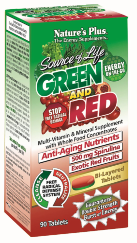 Nature's Plus Green & Red Anti-Aging Nutrients 500 mg Spirulina Bi-Layered Tablets Perspective: front