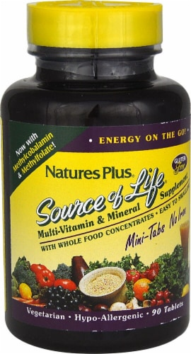 Nature's Plus  Source of Life® Multi-Vitamin and Mineral Supplement No Iron Perspective: front