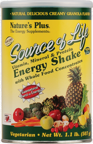 Nature's Plus Source Of Life Creamy Granola Energy Shake Powder Perspective: front