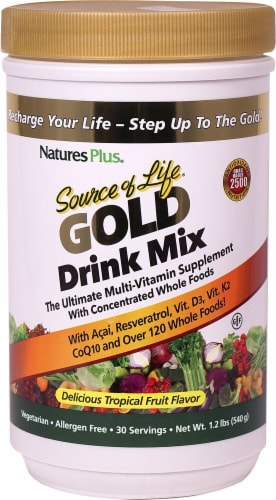 Nature's Plus Source of Life® Gold Drink Mix - Tropical Fruit Perspective: front