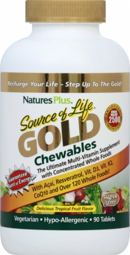 Nature's Plus Source of Life GOLD Chewable Tropical Fruit Multi-Vitamin Perspective: front