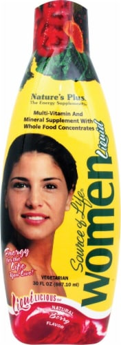 Nature's Plus  Source of Life® Women Multi-Vitamin and Mineral Liquid Supplement   Berry Perspective: front