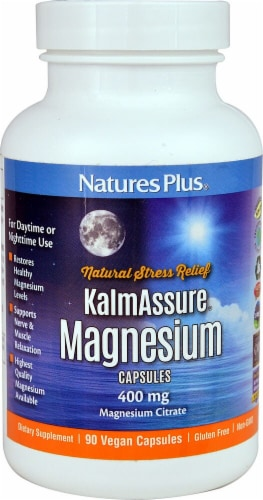 Nature's Plus KalmAssure Magnesium Capsules 400mg 90 Count Perspective: front