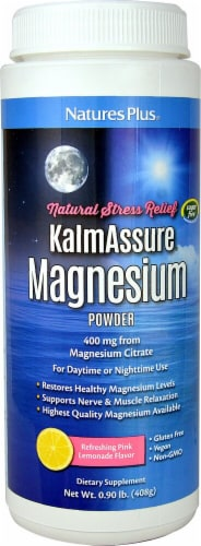 Nature's Plus  KalmAssure® Magnesium Powder   Pink Lemonade Perspective: front