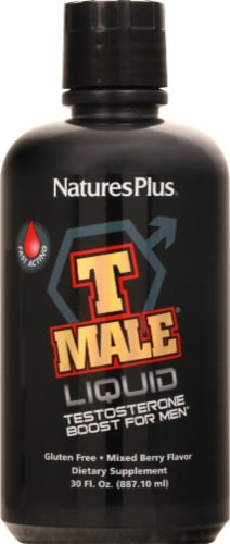 Natures Plus T Male Mixed Berry Liquid Testosterone Boost Perspective: front