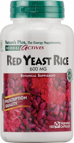 Nature's Plus Herbal Actives Red Yeast Rice Capsules 600mg Supplements Perspective: front