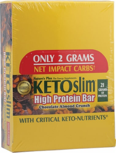 Nature's Plus  KETOslim® High Protein Bars   Chocolate Almond Crunch Perspective: front