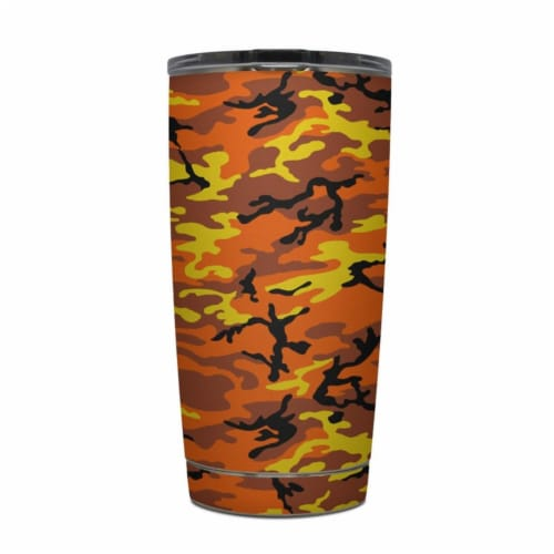 DecalGirl Y20-OCAMO Yeti Rambler 20 oz Tumbler Skin - Orange Camo Perspective: front