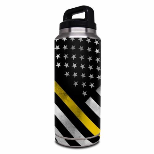 DecalGirl Y36-THINYLINEHERO Yeti Rambler 36 oz Bottle Skin - Thin Yellow Line Hero Perspective: front